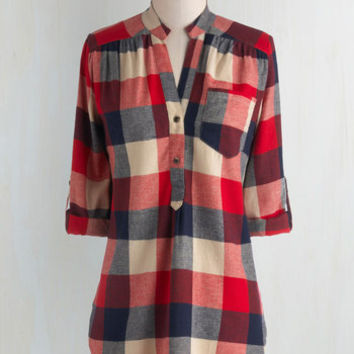 Rustic Long 3 Bonfire Stories Tunic in Red Plaid