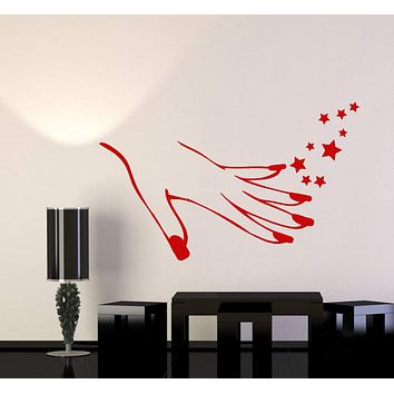 Vinyl Wall Decal Girl Hand Manicure Nails Beauty Salon Stickers (2763ig)