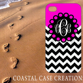 Apple iPhone 4 4G 4S 5G Hard Plastic or Rubber Cell Phone Case Cover Original Hot Pink With Black and White Chevron Monogram Design