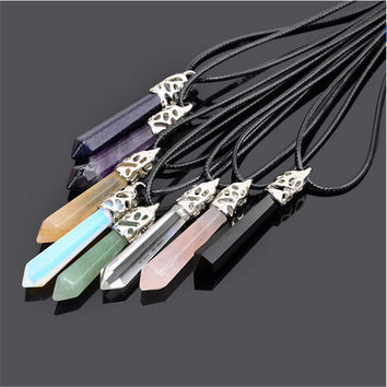 Natural Quartz Pendant Stone Hexagonal Pendant Necklace Chakra Healing Crystal Point Gem Stone Necklace Jewelry