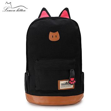 Lemon Kitten Canvas Backpack For Women Cat Ears Women Backpack Girl Mochila Escolar Backpack School Bag Rucksack Preppy Style