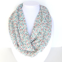Floral Scarf, Women's Scarves, Printed Scarf, Spring Scarf, Summer Scarf, Peach Infinity Scarf