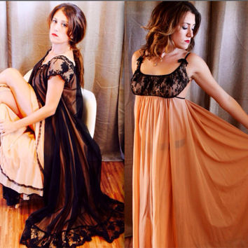Vintage Lingerie Peignoir Set black nude Lace Robe and negligee by   Claire Sandra Lucie Ann of Beverly Hills