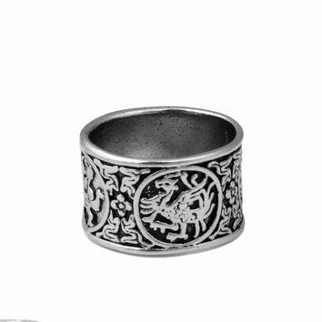 Octbyna Antique Silver Viking Ring for Men Adjustable Dragon Rings Norse Vikings Mythology Jewelry