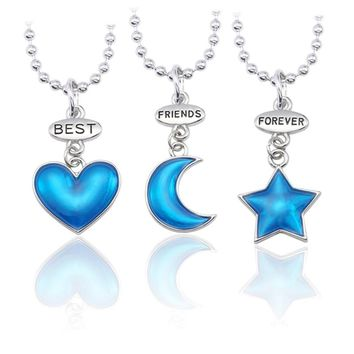 Trendy Best Friends Forever Pendant Necklace Women Enamel Heart Moon Star Necklaces Pendants Bff Friendship Jewelry Gifts Colar