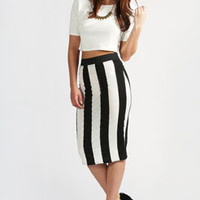 Lilly Wide Vertical Stripe Midi Skirt