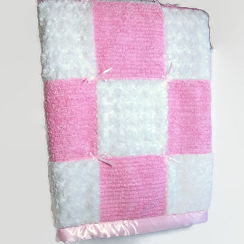 Baby Girl Quilt - Baby Chenille and Minky Swirl Quilt - Pink Baby Quilt