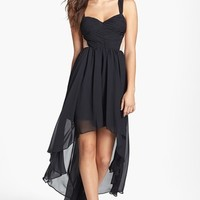 Hailey Logan Contrast Panel High/Low Dress (Juniors)