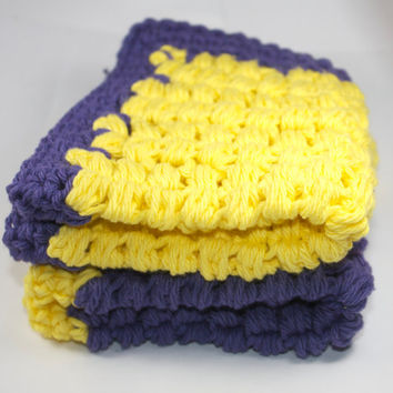 Purple and Yellow Wash Cloths - set of 2 - set of wash cloths, crocheted, trivet, pot holder, spa, kitchen, bathroom