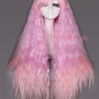 Japan Rhapsody Gothic Lolita Wigs Harajuku Long Curly Cosplay Wigs ZY56 (Pink Fade)
