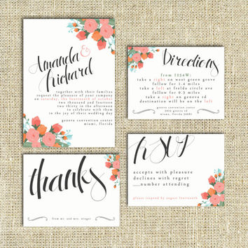 Wedding Invitation Suite Set DEPOSIT - Printable, Custom, DIY - MODERN, Flowers, Floral, Artsy, Digital, Traditional (Wedding Design #23)