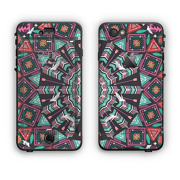 The Mirrored Coral and Colored Vector Aztec Pattern Apple iPhone 6 Plus LifeProof Nuud Case Skin Set