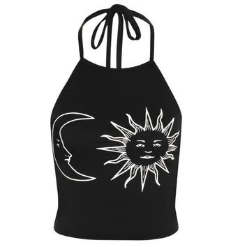 Women's Sleeveless Sun Moon Print Halter Neck Tied Crop Vest Top T-Shirt BK L