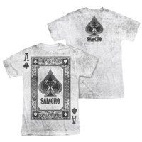 SONS OF ANARCHY ACE OF SPADES Short Sleeve 2 Sided T-Shirt 100% Polyester
