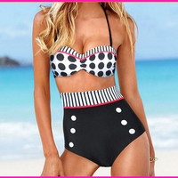 Dot High Waist Pin Up Bikini Swimwear