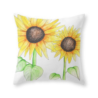 Society6 Sunflower Waterc Throw Pillow