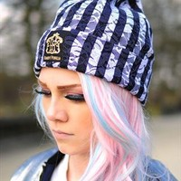 Lace Black & White striped summer Beanie from The Left Bank