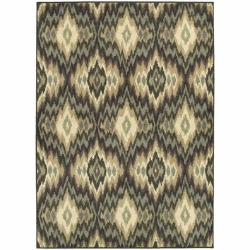 Brentwood Ivory Blue Abstract Ikat Transitional Rug
