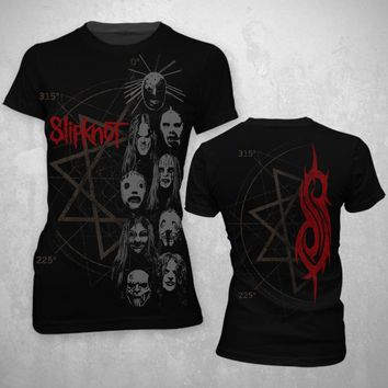 Slipknot Stacked Heads - Womens Black T-Shirt