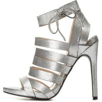 Silver Strappy Distressed Metallic Caged Heels by Charlotte Russe