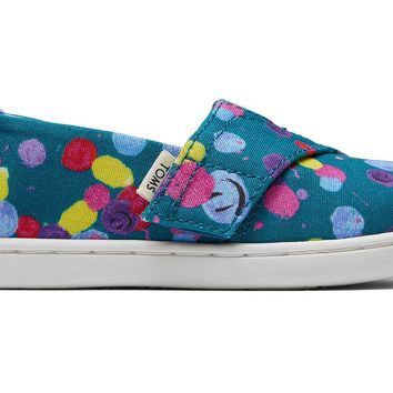 TOMS - Tiny Toms Classics Deep Lake Happy Dot Print Slip-Ons