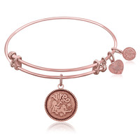 Expandable Bangle in Pink Tone Brass with Virgo Symbol