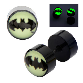 DC Comics Batman Logo Acrylic Glow in the Dark Screw Back Earrings