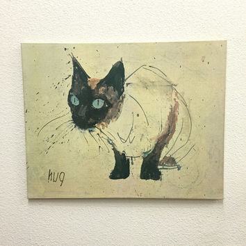 Fritz Hug Siamese Cat Print on Canvas Unframed Giclee Vintage Expressionism Wall Art Vintage Wall Decor
