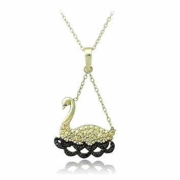 18K Gold over Sterling Silver Black Diamond Accent Swimming Swan Necklace
