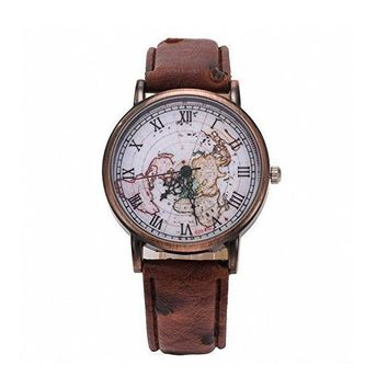 Vintage World Map Pattern Leather Strap Band Watch