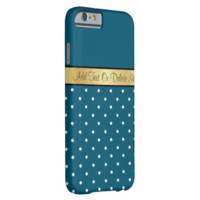 Gold Monogram Chic Peacock Blue & White Polka Dots Barely There iPhone 6 Case