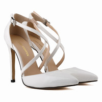 Losnandifen Spring Summer Autumn Classics Free Shipping Ladies Party Bridal Patent High Heels Sweet Shoes Sandals Size US4-11