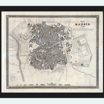 Old Map of Madrid with gravures, Spain Espana 1844 Vintage
