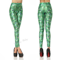 Stunning Gree Peacock Color Printing Leggings from Charming Galaxy