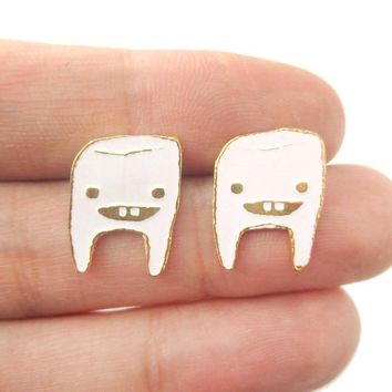 Adorable Wisdom Tooth Smiley Face Shaped Stud Earrings in White on Gold | Limited Edition