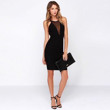 Black Sleeveless Backless Bodycon Dress with Mesh Cut Out