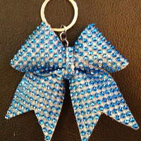 1 Blue Silver Rhinestone Bling Keychain Holders Bow Ribbon Cheer Dance
