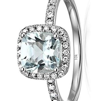 CERTIFIED 1/4 cttw 10k Gold and Diamond Cushion Halo Engagement Ring