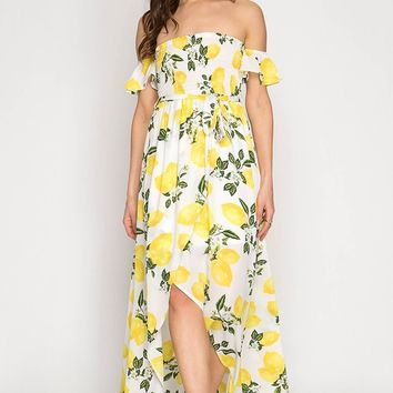 Tropical Lemon Print Hi-Low Maxi Dress - Off White
