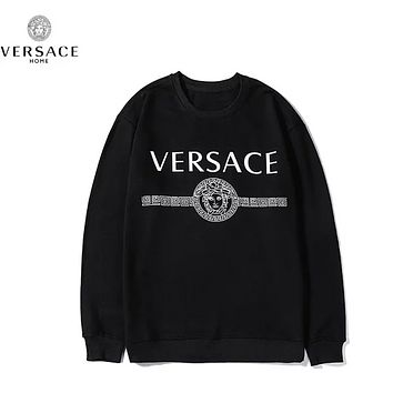 Versace New fashion letter human head print couple top t-shirt Black