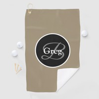 Monogram Elegant Brown Black Golf Towel