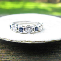 Pretty 14K White Gold Diamond and Blue Sapphire Band - Bezel Set with Milgrain Detailing - Half Eternity Band