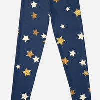 'Gold And Cream Stars' Leggings by Dizzydot