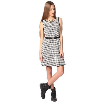 Black houndstooth printed midi skater dress