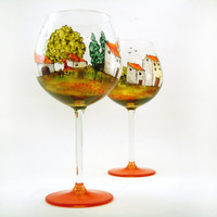 Hand painted glasses - Set of 2 red wine glasses - Village Provencal collection