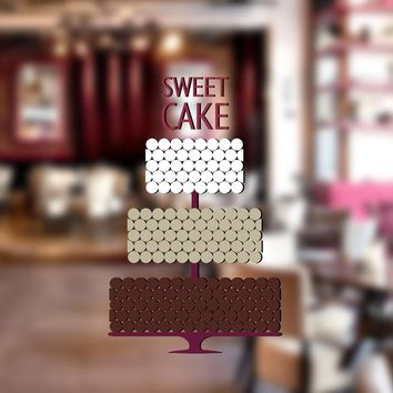 cik1306 Full Color Wall decal sweet cupcake bakery cake confectionery