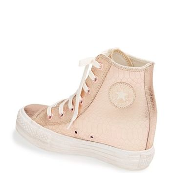 Chuck Taylor All Star 'Platform Plus' Hidden Wedge Leather High-Top Sneaker (Women)