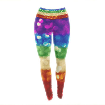 "Kristi Jackson ""Rainbow Bokeh"" Multicolor Digital Yoga Leggings"