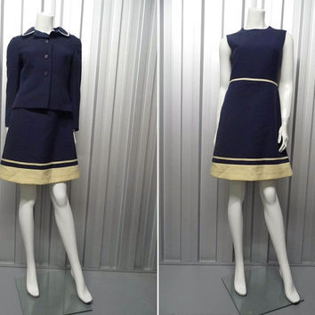 Vintage 60s LOUIS FERAUD Dress Set Wool Suit Shift Dress Navy Blue Jacket 2 Piece Mod Outfit Jackie O Two Piece Womens Mini Andre Peters