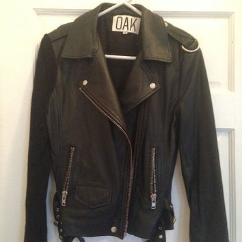 Oak Nyc Combo Rider Jacket Black Suede/Black Leather, Women's Size Medium (Runs Small)